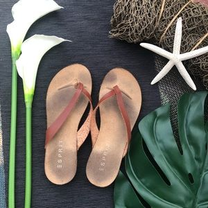 Esprit flip flops with leather straps